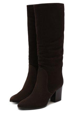 Замшевые сапоги на устойчивом каблуке Sergio Rossi темно-коричневые   Фото №1