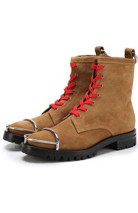 Замшевые ботинки с металлической отделкой Alexander Wang бежевые | Фото №1