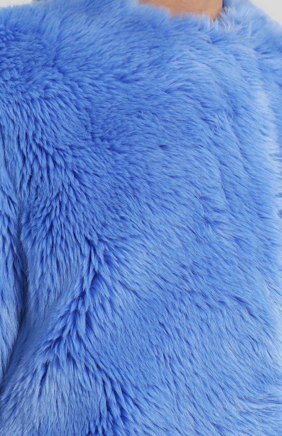 Однотонная шуба прямого кроя MSGM голубая   Фото №5