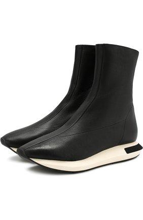 Высокие кожаные кроссовки на контрастной подошве Manuel Barcelo черные   Фото №1