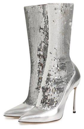 Кожаные сапоги с вышивкой пайетками на шпильке Blade Casadei серебряные   Фото №1