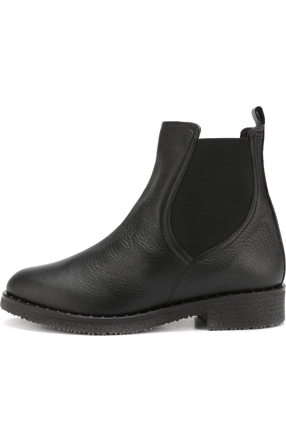 Кожаные  ботинки с внутренней отделкой из овчины Baldan черные | Фото №3