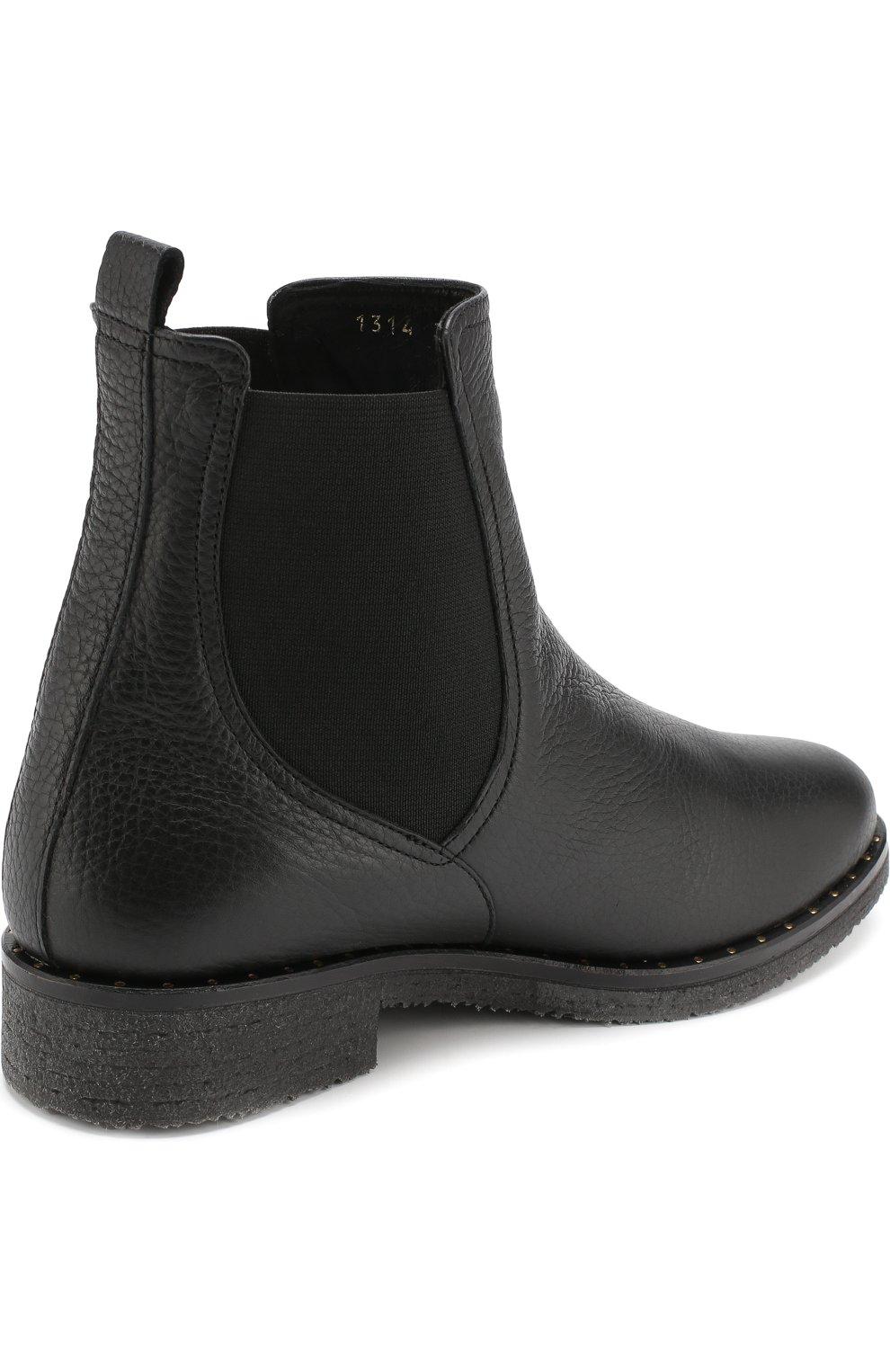 Кожаные  ботинки с внутренней отделкой из овчины Baldan черные | Фото №4