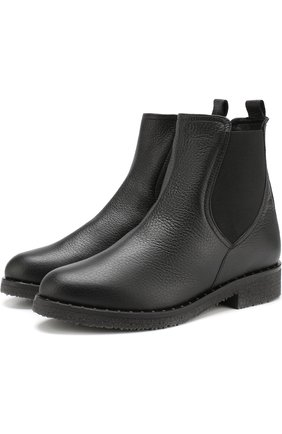 Кожаные  ботинки с внутренней отделкой из овчины Baldan черные | Фото №1