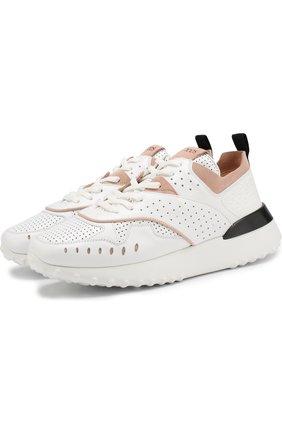 Кожаные кроссовки на шнуровке Tod's белые   Фото №1