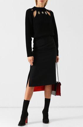 Текстильные ботильоны на устойчивом каблуке Alexander McQueen черные   Фото №1