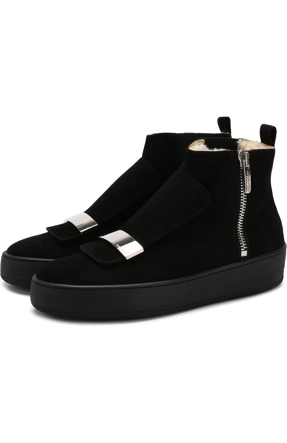 Женские замшевые ботинки с внутренней отделкой из овчины SERGIO ROSSI черного цвета, арт. A82050-MCAZ01   Фото 1