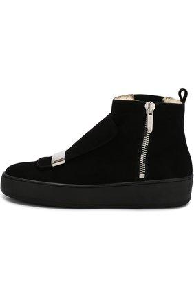 Женские замшевые ботинки с внутренней отделкой из овчины SERGIO ROSSI черного цвета, арт. A82050-MCAZ01   Фото 3