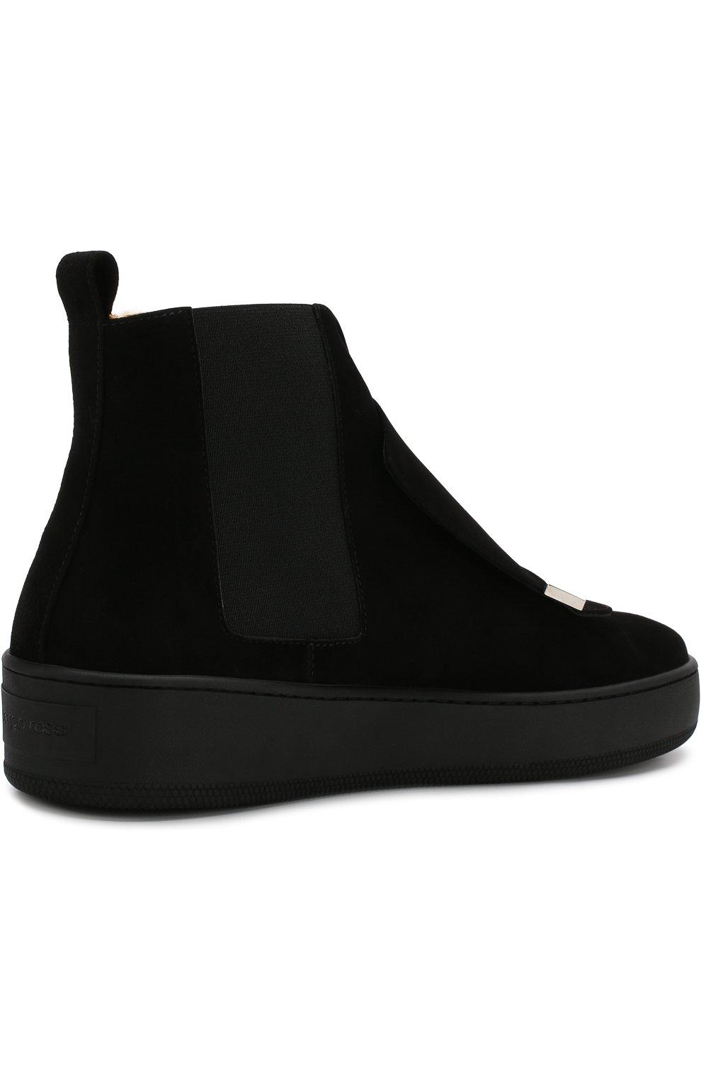 Женские замшевые ботинки с внутренней отделкой из овчины SERGIO ROSSI черного цвета, арт. A82050-MCAZ01   Фото 4