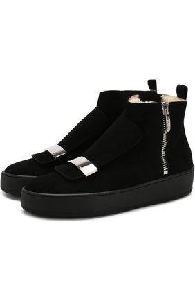 Замшевые ботинки с внутренней отделкой из овчины Sergio Rossi черные   Фото №1