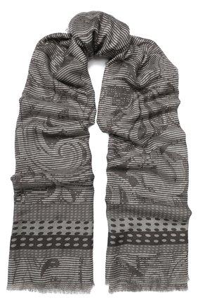 Кашемировый шарф с принтом Franco Ferrari серый | Фото №1