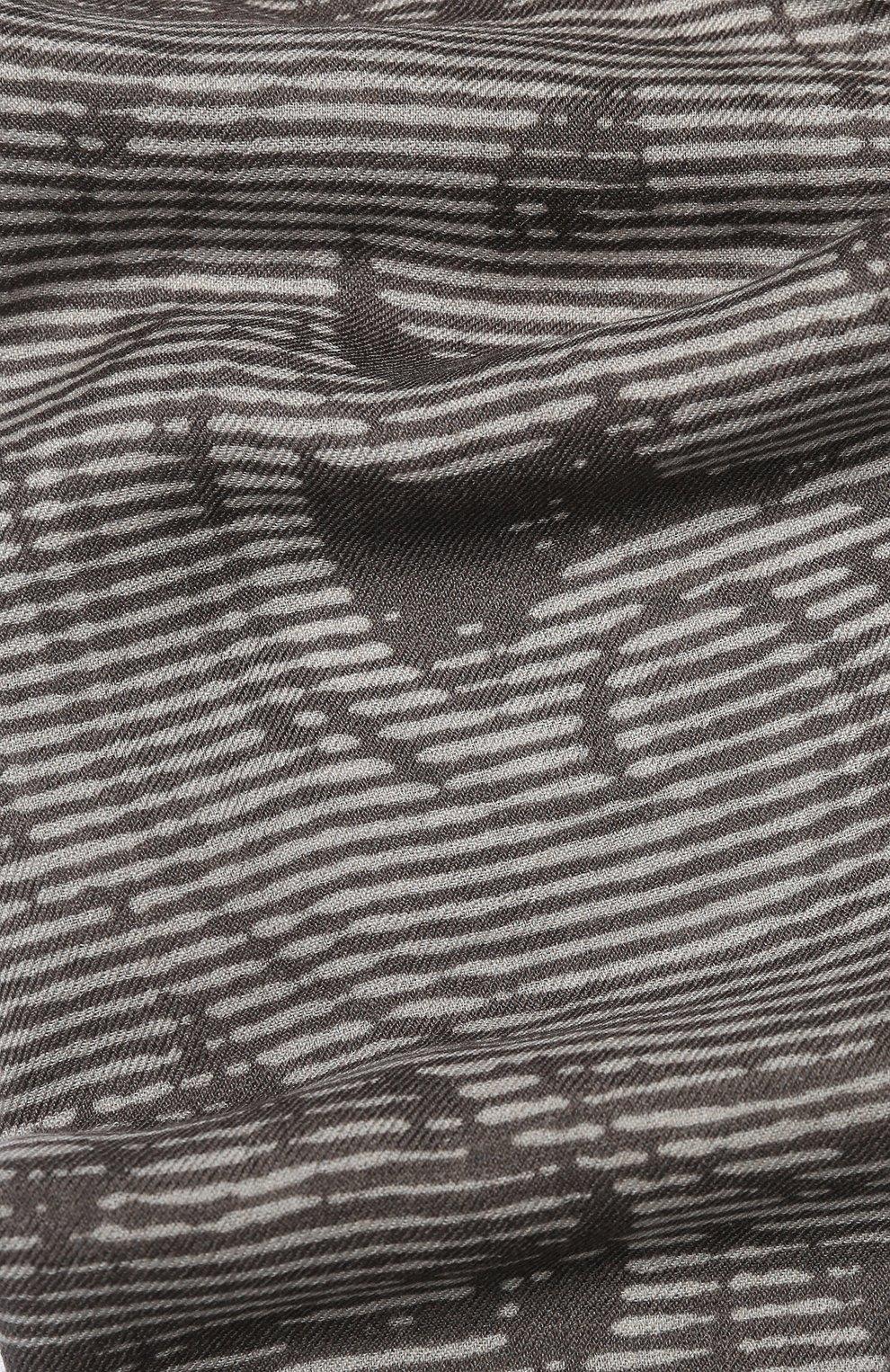Кашемировый шарф с принтом Franco Ferrari серый | Фото №2