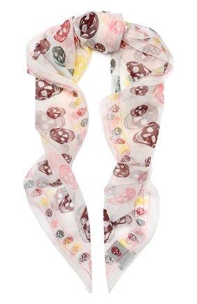Шелковый шарф с принтом в виде черепа | Фото №1