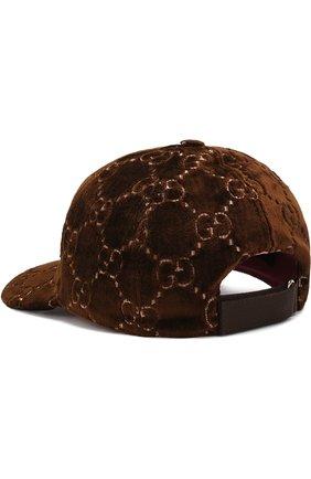 Бархатная кепка GG Gucci коричневого цвета | Фото №2