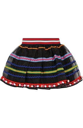 Пышная юбка с контрастной отделкой | Фото №1