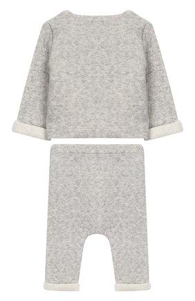 Детский хлопковый комплект из кардигана и брюк TARTINE ET CHOCOLAT серого цвета, арт. TM36021/1M-18M | Фото 2 (Материал внешний: Хлопок; Статус проверки: Проверено, Проверена категория; Рукава: Длинные)