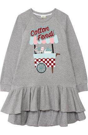 Хлопковое платье с асимметричной оборкой | Фото №1