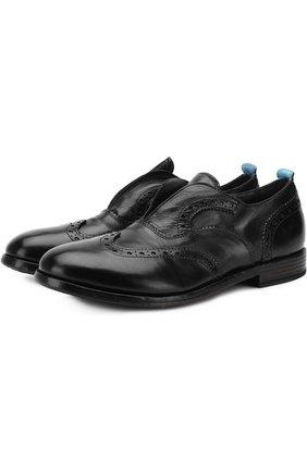 Кожаные оксфорды без шнуровки с брогированием Moma черные | Фото №1