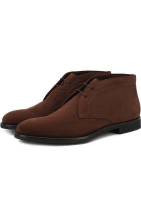 Замшевые ботинки на шнуровке Moreschi коричневые | Фото №1