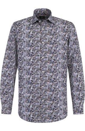 Хлопковая рубашка с воротником кент Paul&Shark синяя | Фото №1