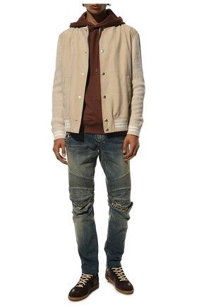 Мужские джинсы-скинни с потертостями BALMAIN синего цвета, арт. P0H/T551/C710V | Фото 2