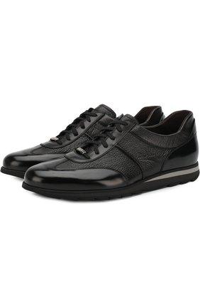 Кожаные кроссовки на шнуровке Barrett черные | Фото №1