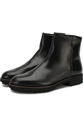 Кожаные сапоги на молнии с внутренней меховой отделкой Antonio Maurizi черные | Фото №1