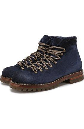 Замшевые ботинки с внутренней меховой отделкой Antonio Maurizi светло-коричневые | Фото №1