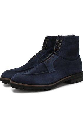 Замшевые высокие ботинки на шнуровке с внутренней меховой отделкой Antonio Maurizi темно-синие | Фото №1
