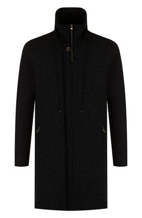 Шерстяное пальто на молнии с воротником-стойкой Transit черного цвета | Фото №1