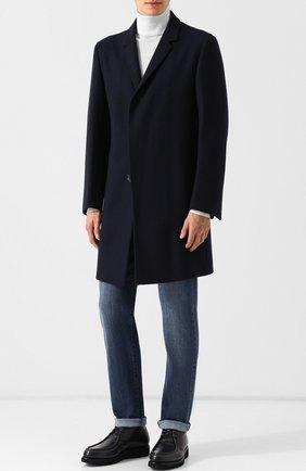 Мужской однобортное пальто из шерсти KNT темно-синего цвета, арт. USP0101K01R17 | Фото 2