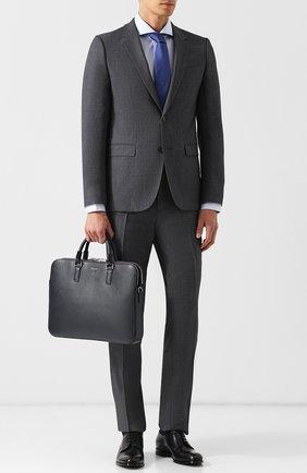 Кожаная сумка для ноутбука Evoluzione с плечевым ремнем Serapian черная | Фото №1