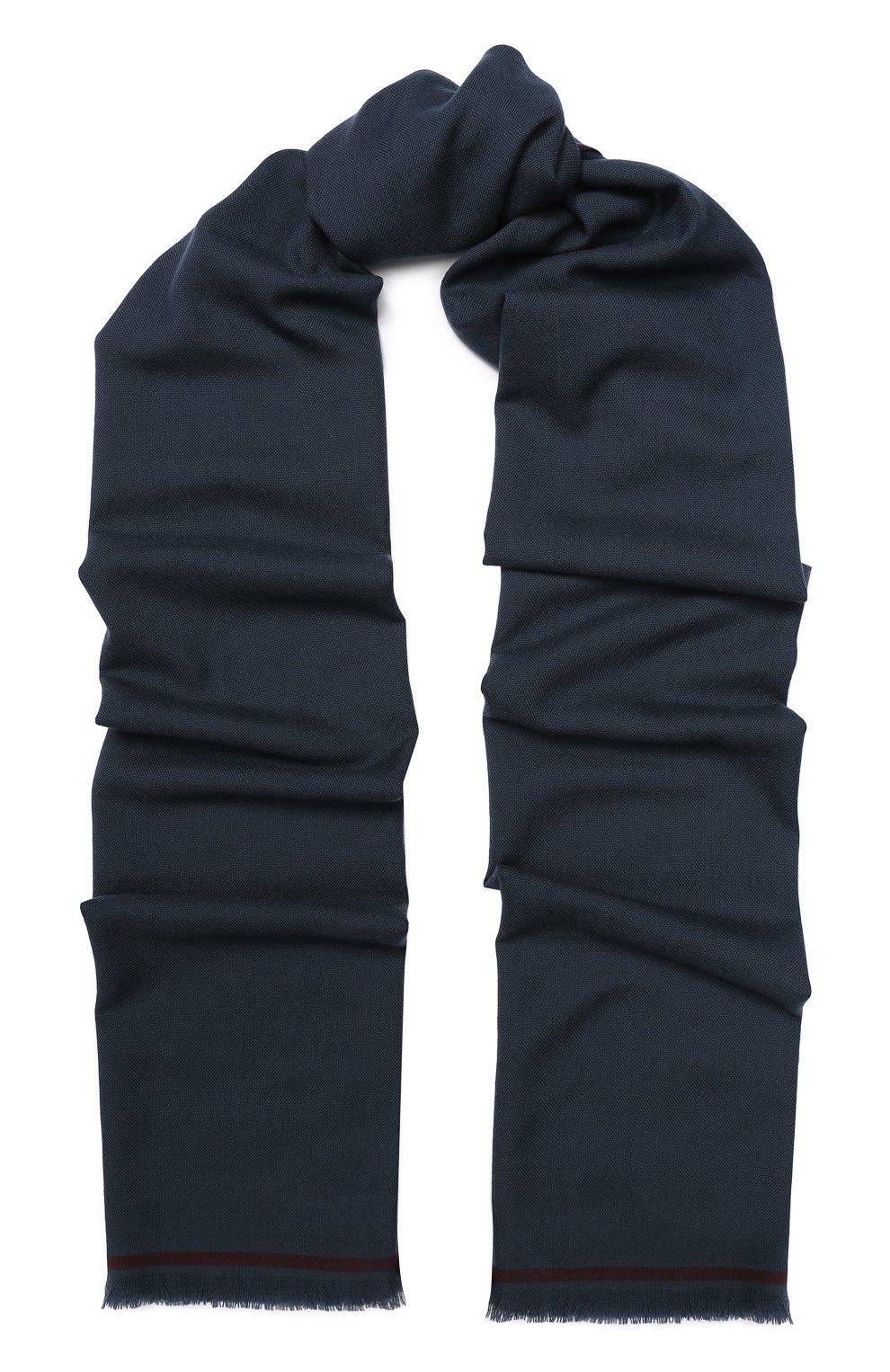 Мужской шерстяной шарф с необработанным краем LORO PIANA темно-серого цвета, арт. FAI1134   Фото 1