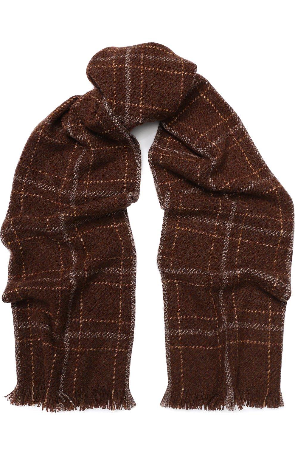 Мужской шарф из смеси кашемира и шелка LORO PIANA коричневого цвета, арт. FAI2437 | Фото 1