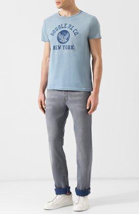 Мужская хлопковая футболка с принтом RRL синего цвета, арт. 782704107 | Фото 2