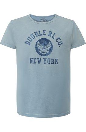 Хлопковая футболка с принтом RRL синяя | Фото №1