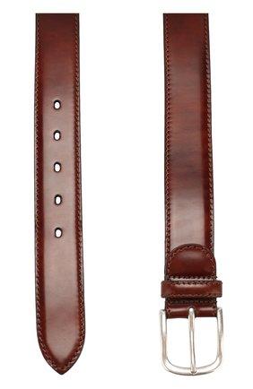 Кожаный ремень с металлической пряжкой A. Testoni бордовый   Фото №1