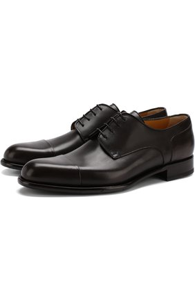 Кожаные дерби на шнуровке A. Testoni коричневые   Фото №1