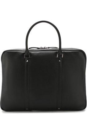 Кожаная сумка для ноутбука Valentino Garavani Rockstud с плечевым ремнем   Фото №1