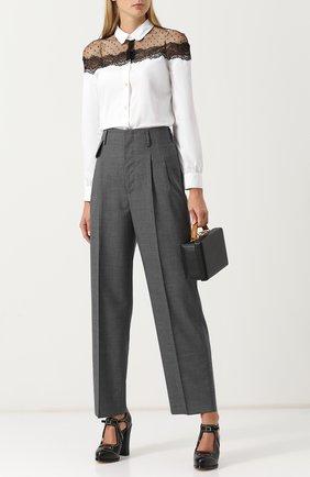 Женская хлопковая блуза с кружевной отделкой REDVALENTINO, цвет белый, арт. QR0AB290/2G5 в ЦУМ | Фото №1