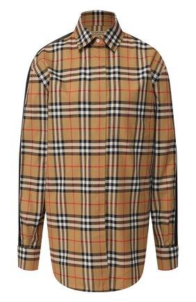Женская хлопковая блуза в клетку Burberry, цвет желтый, арт. 8003206 в ЦУМ   Фото №1