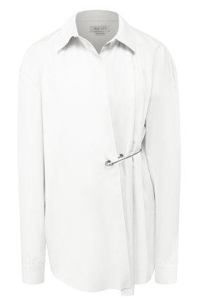 Женская хлопковая блуза с декоративной застежкой  Act n1, цвет белый, арт. FWT1802 в ЦУМ   Фото №1