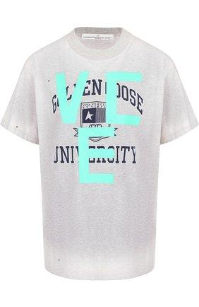 Хлопковая футболка с открытой спиной Golden Goose Deluxe Brand светло-серая | Фото №1