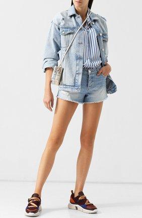 Джинсовые шорты с потертостями Paige голубые | Фото №1