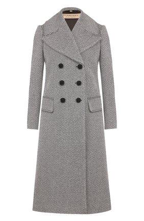 Двубортное шерстяное пальто Burberry черно-белого цвета   Фото №1