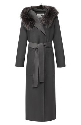 Пальто из смеси шерсти и кашемира с капюшоном | Фото №1
