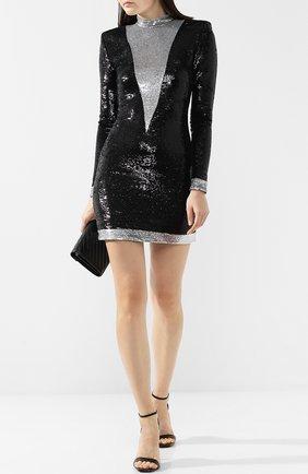 Мини-платье с воротником-стойкой и пайетками Balmain черное   Фото №1