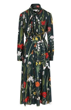 Шелковое платье с воротником аскот Oscar de la Renta темно-зеленое | Фото №1