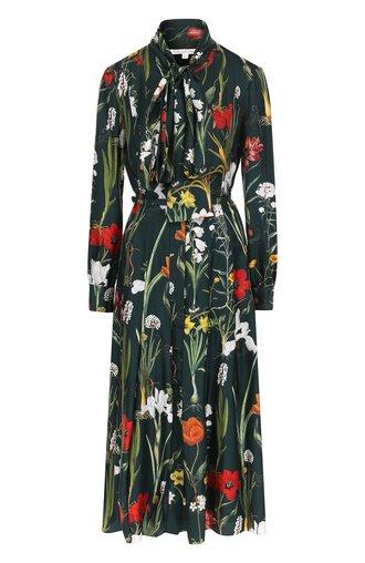 Шелковое платье с воротником аскот