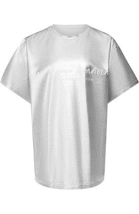 Хлопковая футболка с надписью Mm6 серебряная   Фото №1